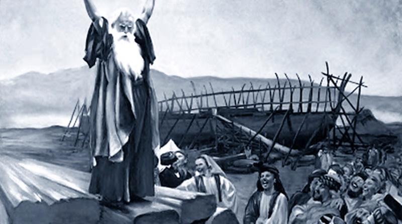 Ilustração de Noé pregando ao povo sobre o juízo de Deus em breve