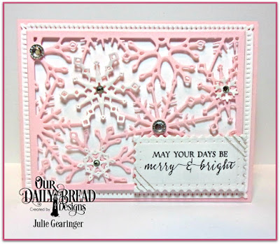Our Daily Bread Designs Stamp Set: Merry & Bright, Our Daily Bread Designs Custom Dies: Snowflake Sky, Snow Crystals, Filigree Frames