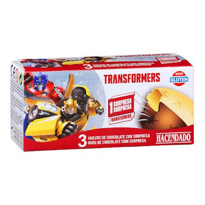 Huevos de chocolate con leche y chocolate blanco con sorpresa de Transformers Hacendado