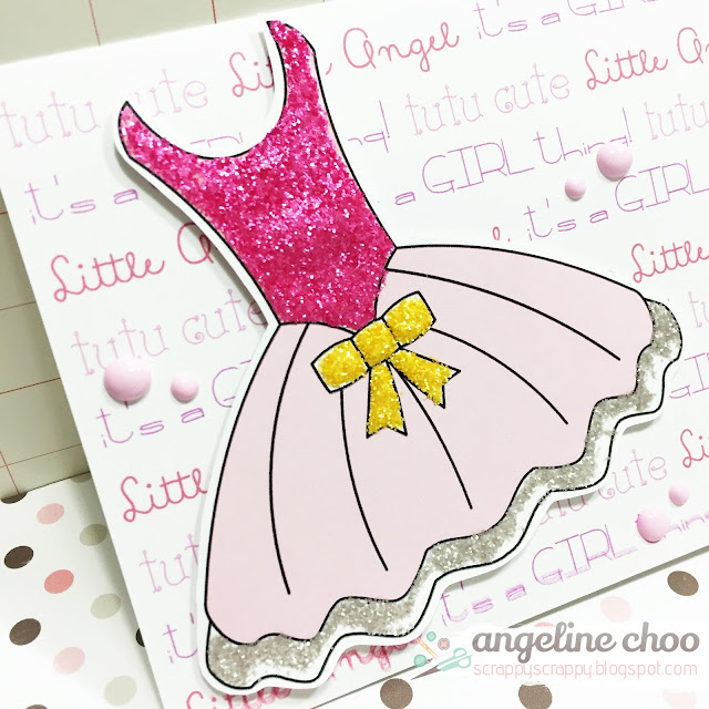 ScrappyScrappy: Cute Tutu Glitter card with The Cutting Cafe #scrappyscrappy #thecuttingcafe #card #cardmaking #ballerina #tutu #distressglitter #timholtz #glitter #printable
