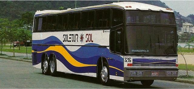 Os famosos ônibus Scania utilizados pela Soletur Turismo