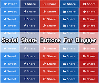 Flat Social Share Buttons For Blogger
