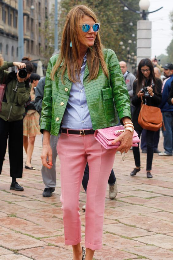GREEN AND PINK STREET STYLE