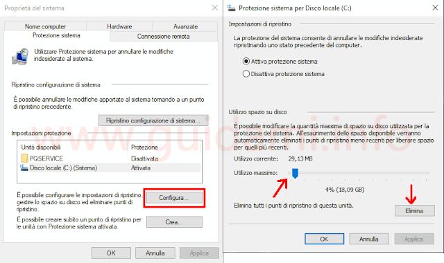 Windows 10 impostazioni punto di ripristino di sistema