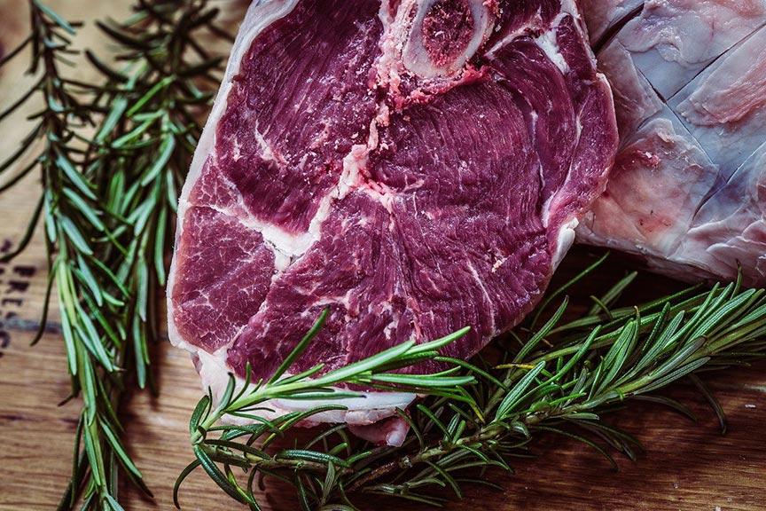 Steak and rosemary sprig