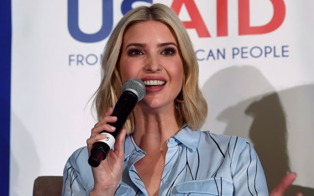 Ivanka Trump Pairs Graphic-Patterned Outfit With Classic Black Pumps at W-GDP Announcement