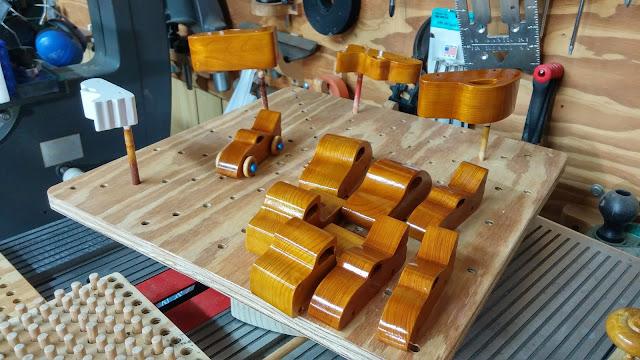 Wooden Toy Cars & Trucks Final Finish In Progress