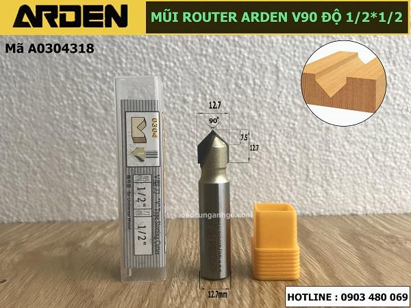 Mũi phay gỗ chử V dòng A0304 ARDEN 1/2x1/2