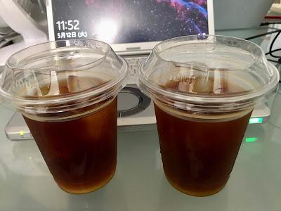 水出しアイスコーヒーとアイスアメリカーノ