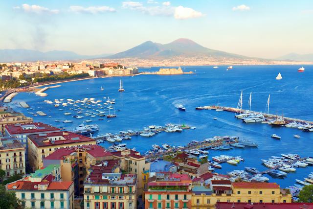 View of the bay of Naples, Campania, Italia