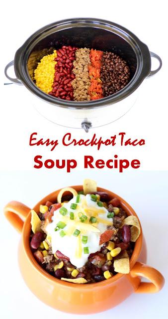 Easy Crockpot Taco Soup Recipe #Easy #Crockpot #Taco #Soup #Recipe