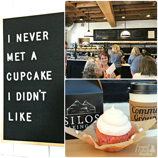 The Silos Baking Co. at Magnolia Market is known for their cupcakes, but they also offer a wide array of biscuits, pastries, huge cinnamon rolls, and more.