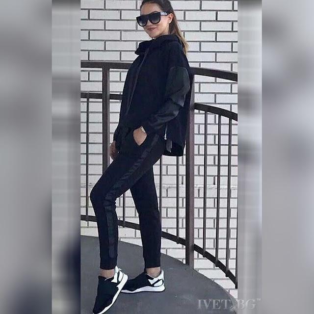 Γυναικείο μαύρο αθλητικό σύνολο BRANDJELINA BLACK