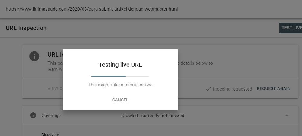 [Update] Cara Submit Artikel Google  Search Console URL Inspection