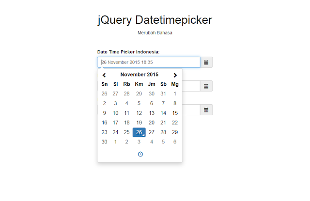 jQuery Bootstrap Datetimepicker Indonesian Language