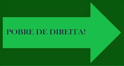 A imagem no formato de sinalização de trânsito e com a seta para a indicar a direção da direita e nas cores verdes e caracteres nas cores azuis diz: pobre de direita!