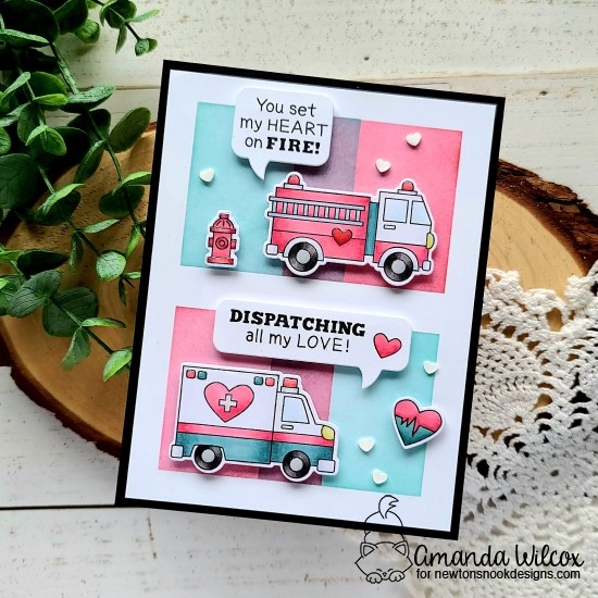 Emergency vehicles Valentine card by Amanda Wilcox | Love Emergency Stamp Set, Speech Bubbles Die Set and Slimline Masking Circles & Squares Stencil Set by Newton's Nook Design