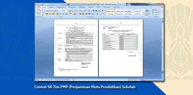 Contoh SK Tim PMP (Penjaminan Mutu Pendidikan) Sekolah