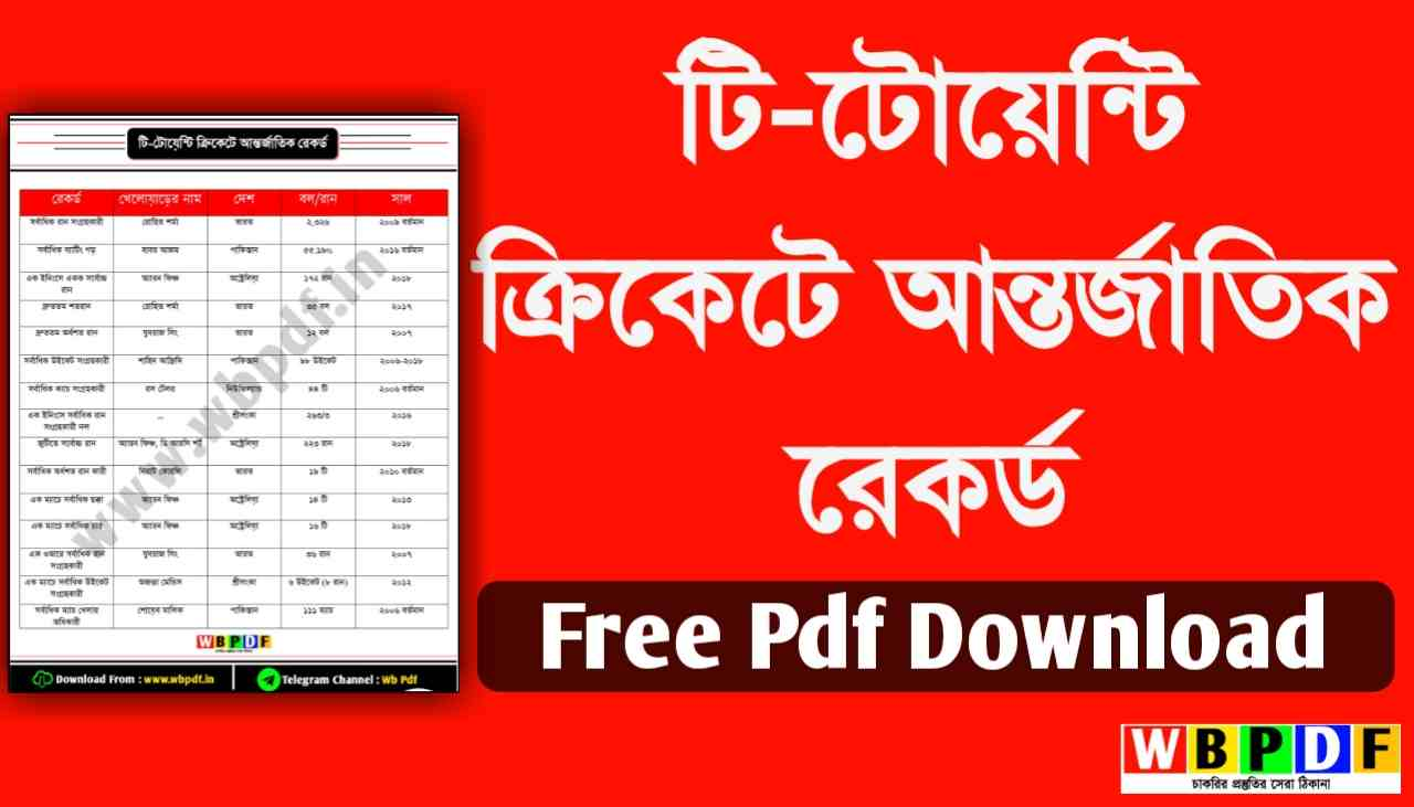 International Record in T20 Cricket Bengali Free Pdf File Download