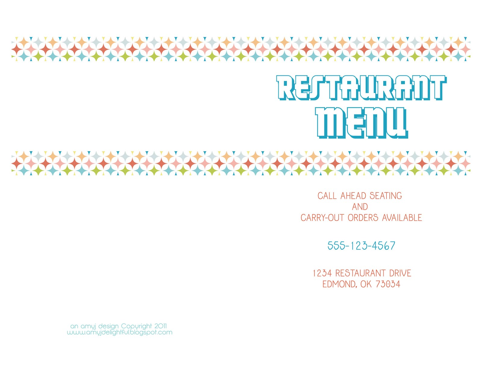 Amy J Delightful Blog Printable Menus For Playing Restaurant