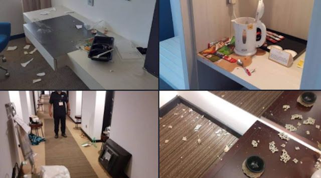 Hotel facilities are damaged after being a quarantine place