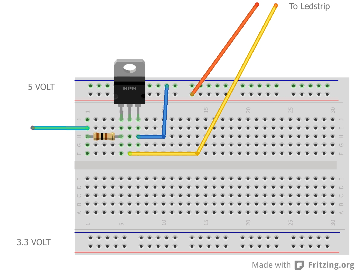 Lucstechblog Esp8266 Controlled Ledstrip Arduino Charlieplexing Led Amp Code As You Can See A Very Simple Setup Just Tip120 Transistor That Is Attached To The 5 Volt Power Reel And Loose Breadboard Cable Green One Which I