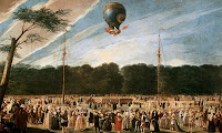 Первый полет воздушного шара братьев Монгольфье. Рисунок XVIII века