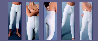 La imagen muestra una selección de prendas para después de liposucción.