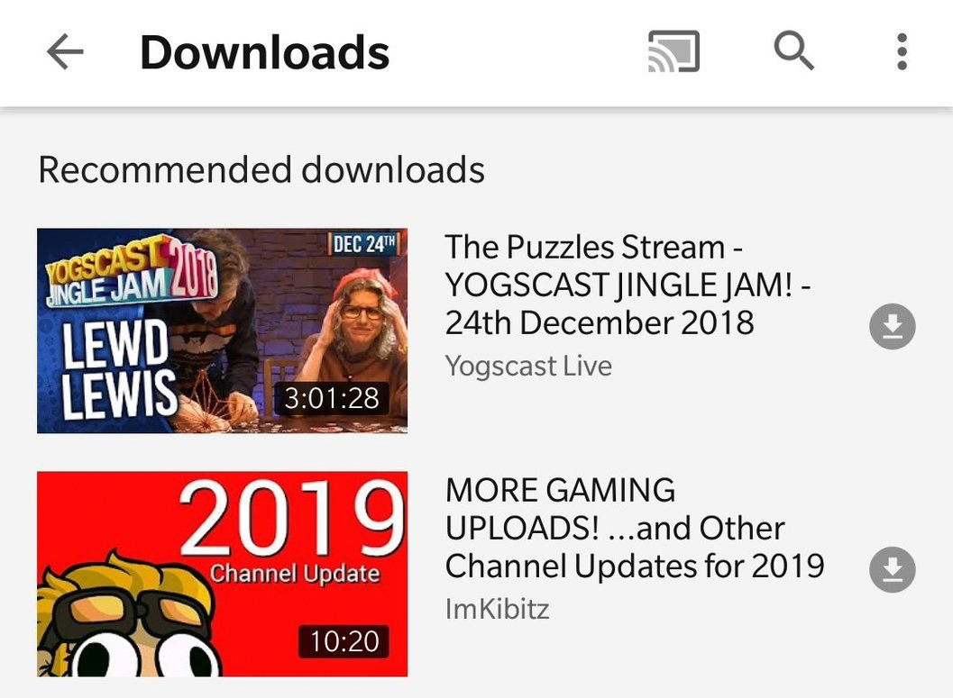 YouTube is testing video download recommendations in select markets