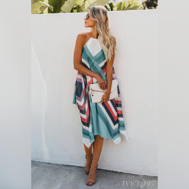 Εντυπωσιακό μίντι χρωματιστό φόρεμα MATEA