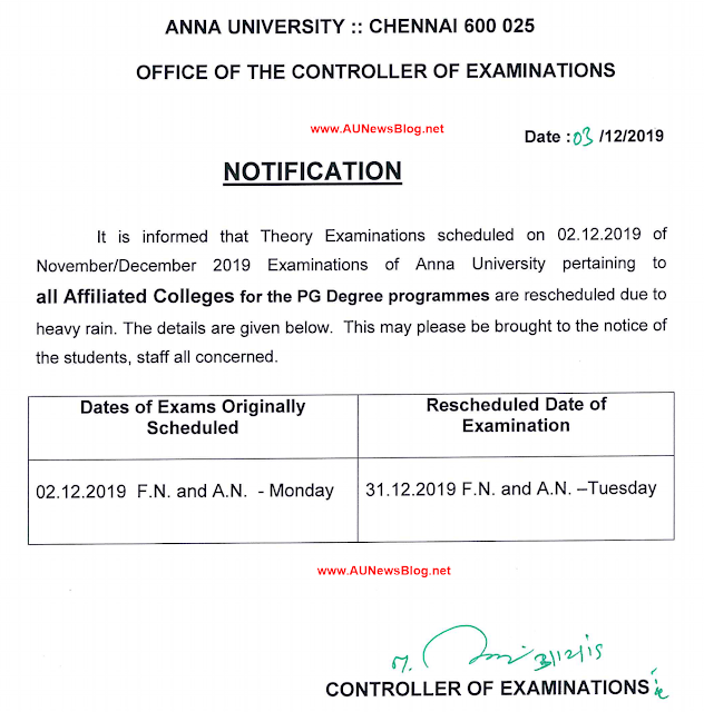 Anna University postponed Exams Rescheduled date for Nov Dec 2019