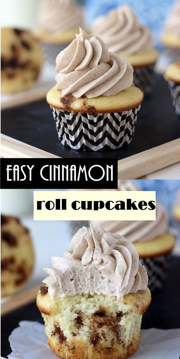 easy cinnamon roll cupcakes #Cupcakesrecipes