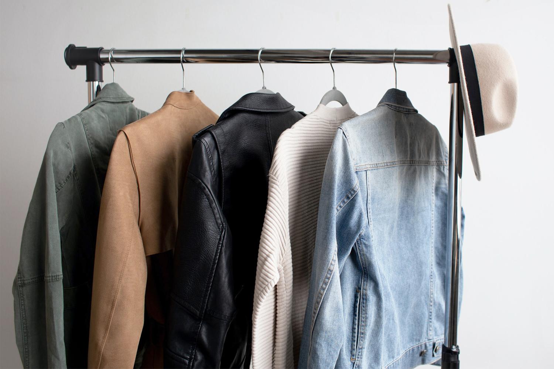 capsule wardrobe jackets ona rack