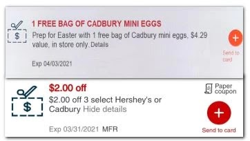 Hershey's or Cadbury Candy  CVS crt or App Coupon