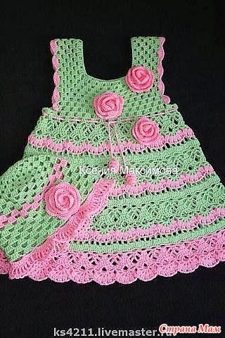 Vestidos tejidos a crochet para nina recien nacida