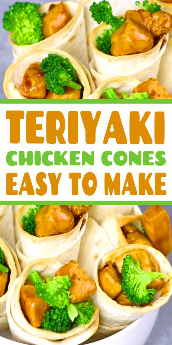 Teriyaki Chicken Cones are so fun to make for a party. Teriyaki chicken is loaded into crispy tortilla cones with broccoli for a mouthwatering appetizer everyone will love. Perfect hand held appetizer for parties or the holidays! #teriyaki #chicken #appetizers #appetizerforparties #partyfood #party