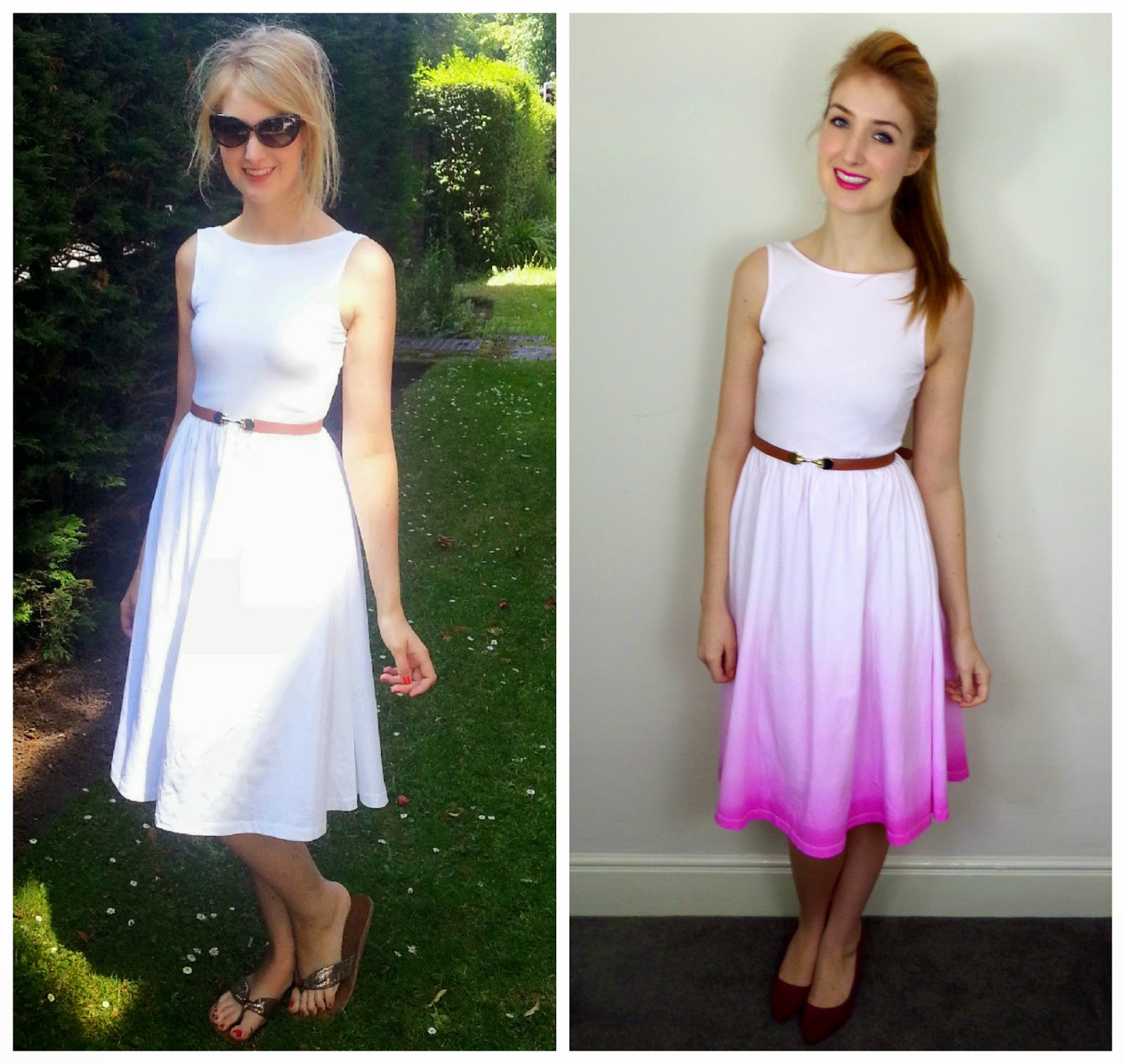 DIY Tutorial: Valentines Ombre Dip Dye Dress Makeover With