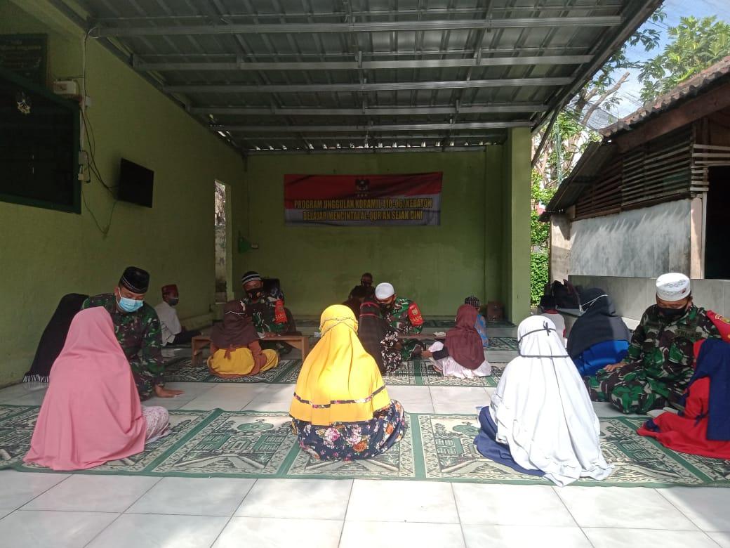 Koramil 410-06/Kedaton Kodim 0410/KBL menggelar kegiatan bimbingan belajar mengaji Al-Qur'an kepada anak-anak yang ada wilayah binaan