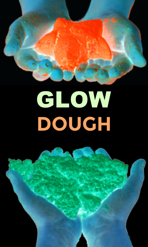 Light up the night with this easy to make glowing dough for kids! #glowinthedark #glowinthedarkclouddough #clouddough #clouddoughrecipe #growingajeweledrose #activitiesforkids