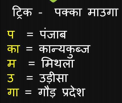 Gk Trick Hindi :  हर्षवर्द्धन द्वारा जीते गए पांच प्रदेश