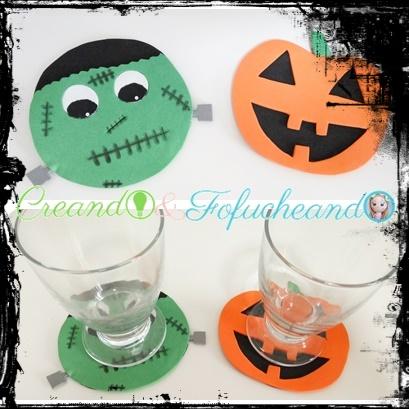 posavasos-calabaza-y-frankenstein-3-ideas-fáciles-para-tu-mesa-de-halloween-creandoyfofucheando