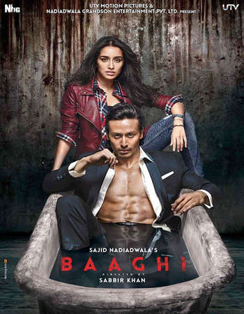Poster Of Baaghi 2016 Hindi 140MB DVDScr Best HEVC Mobile Watch Online Free Download Worldfree4u
