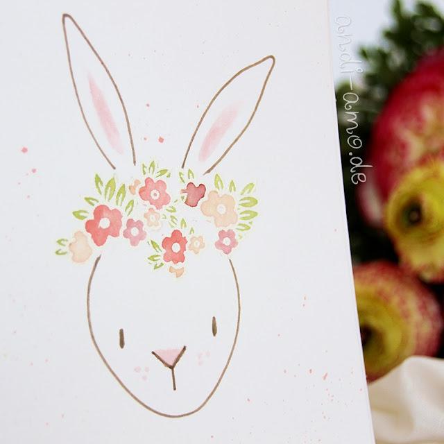 Hase mit Blumenkranz gestempelt und coloriert