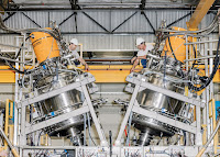 (Credit: A photograph taken in 2016 shows the central confinement vessel of a prototype fusion reactor built by Tri Alpha Energy (now TAE Technologies). Julian Berman) Click to Enlarge.