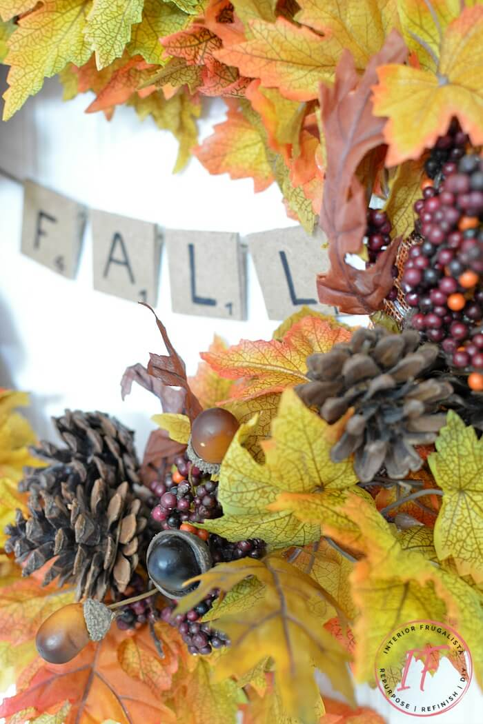 Easy Peasy Fall Wreath With Scrabble Tile Banner
