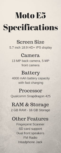 Moto E5 specifications