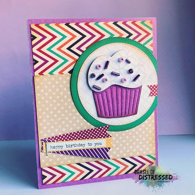 Die Cut Cupcake Stamped Card with Bead Sprinkles