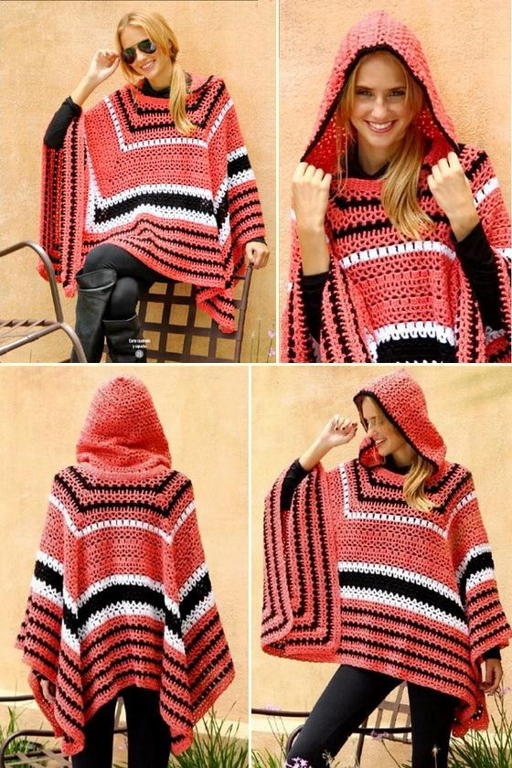 Hooded crochet poncho patterns for women - 4 positions