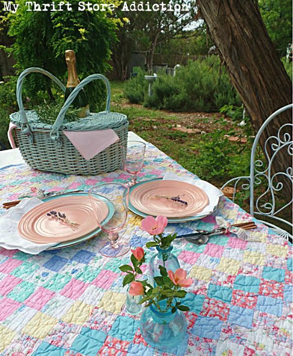 romantic picnic tablescape