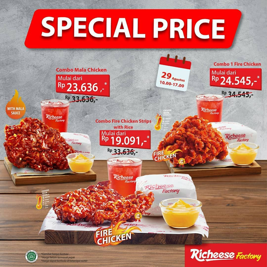 Promo Richeese Factory Special Price 3 Combo Start From IDR 19.091* 29 August 2020